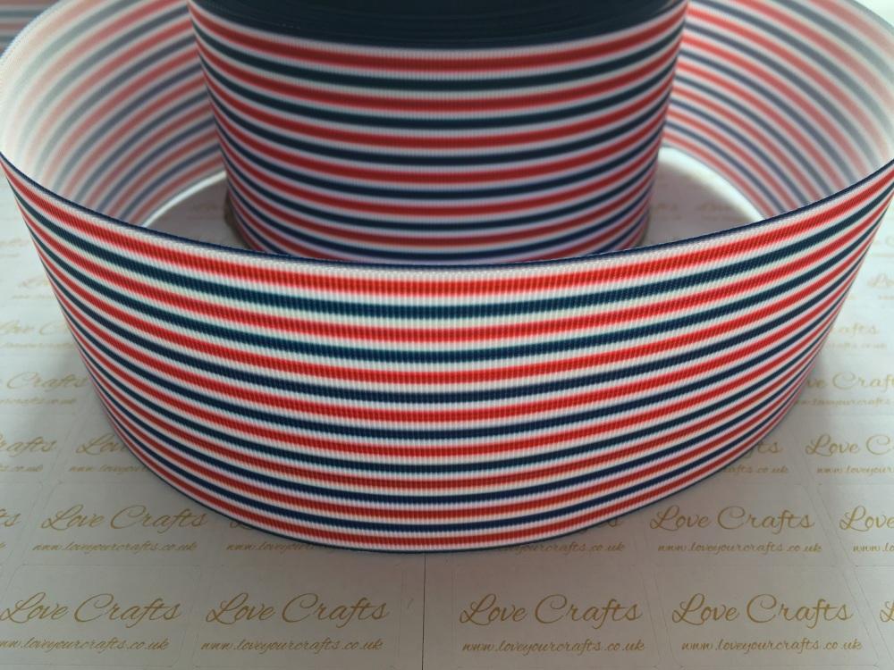 Red/White/Blue Pinstripe Grosgrain Ribbon