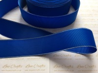 Electric Blue with Silver Edge Grosgrain Ribbon