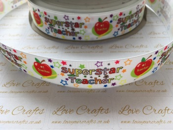 "1"" Superstar Teacher Grosgrain Ribbon"
