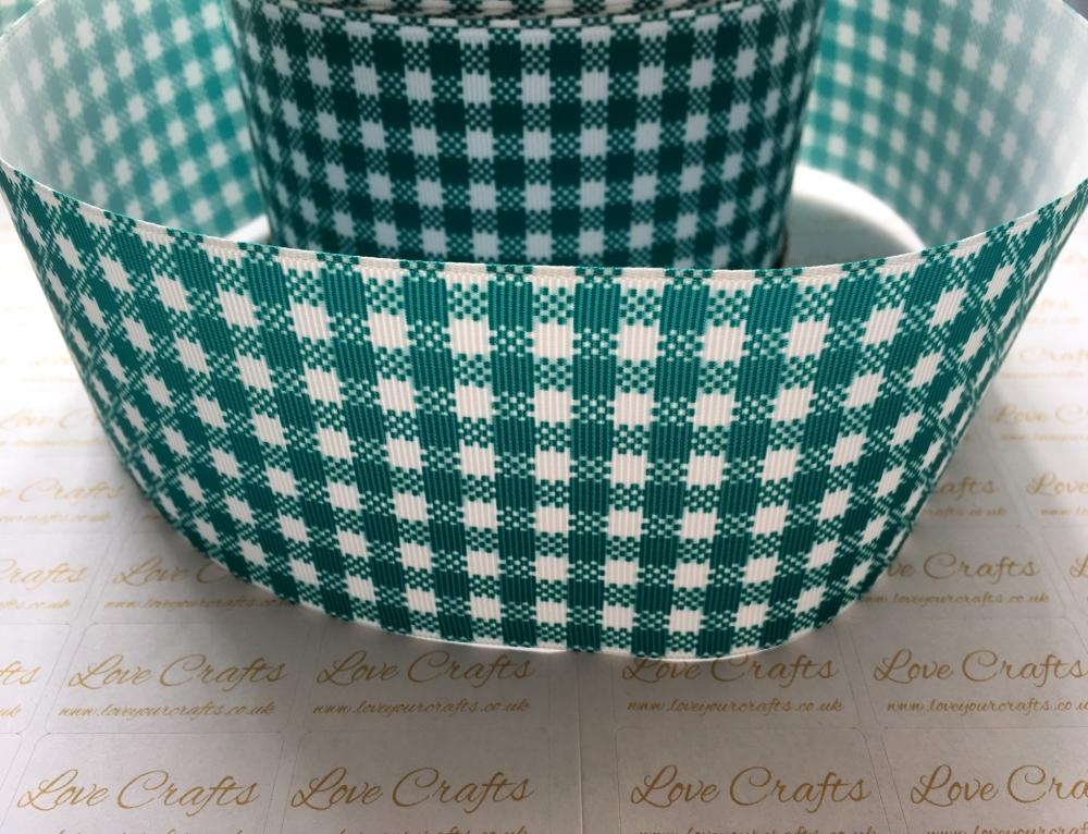 Jade Gingham Check Grosgrain Ribbon