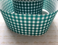 Jade Gingham Check Grosgrain Ribbon