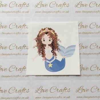 LC Ribbon Transfer - Brown Curly Hair Mermaid