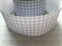 Lilac Mist Gingham Check Grosgrain Ribbon