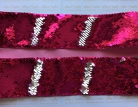 "3"" Hot Pink to Silver Sequin Change Ribbon"