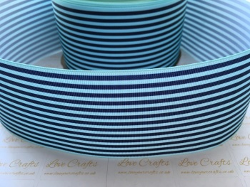 Light Blue & Navy Pinstripe Grosgrain Ribbon