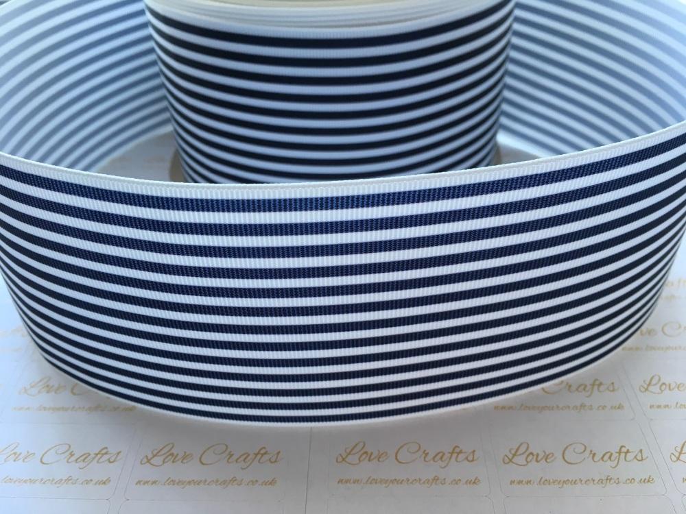 Navy Pinstripe Grosgrain Ribbon