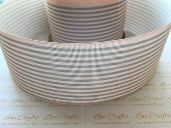 Pink & Grey Pinstripe Grosgrain Ribbon