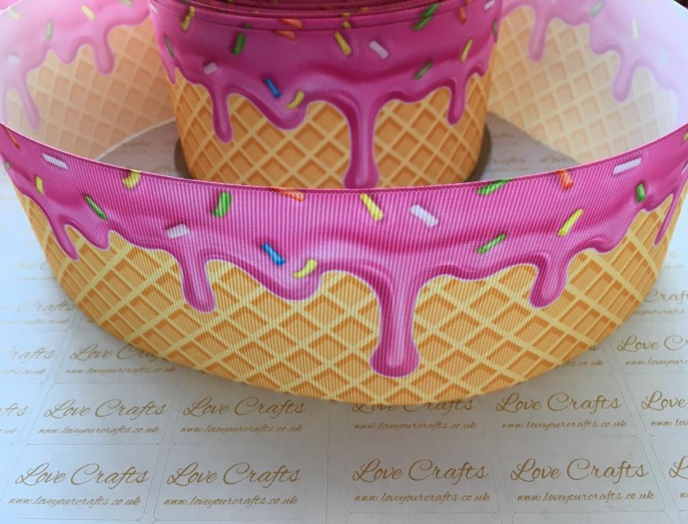 Strawberry Ice Cream Cone Grosgrain Ribbon
