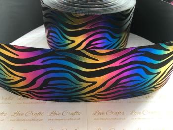 """3"""" Colourful Laser Zebra on Black Grosgrain Ribbon"""