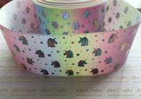 "3"" Silver Laser Unicorn Heads on Pastel Rainbow Ombre Grosgrain Ribbon"