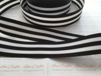 "1.5"" Black & White Stripe Double Sided Grosgrain Ribbon"