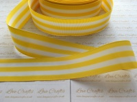 "1.5"" Daffodil & White Stripe Double Sided Grosgrain Ribbon"