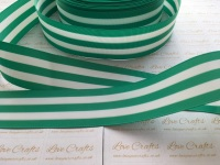 "1.5"" Fern Green & White Stripe Double Sided Grosgrain Ribbon"