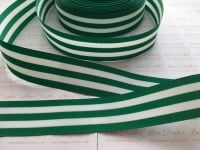 "1.5"" Forest Green & White Stripe Double Sided Grosgrain Ribbon"