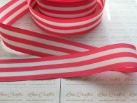 "1.5"" Hot Pink & White Stripe Double Sided Grosgrain Ribbon"