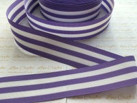 "1.5"" Hyacinth & White Stripe Double Sided Grosgrain Ribbon"