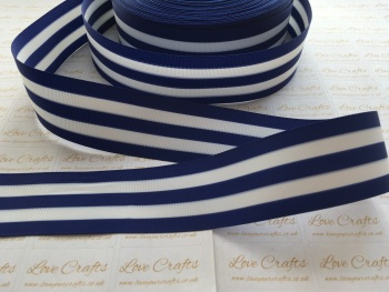 "1.5"" Blue & White Stripe Double Sided Grosgrain Ribbon"