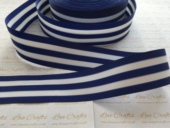 """1.5"""" Blue & White Stripe Double Sided Grosgrain Ribbon"""