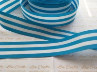 "1.5"" Island Blue & White Stripe Double Sided Grosgrain Ribbon"