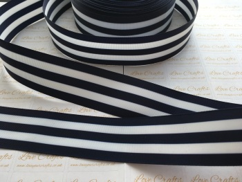 "1.5"" Navy & White Stripe Double Sided Grosgrain Ribbon"