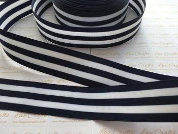 """1.5"""" Navy & White Stripe Double Sided Grosgrain Ribbon"""