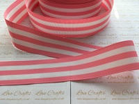"1.5"" Pink & White Stripe Double Sided Grosgrain Ribbon"