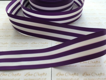"1.5"" Purple & White Stripe Double Sided Grosgrain Ribbon"