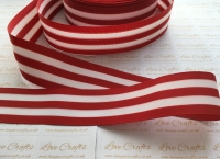 "1.5"" Red & White Stripe Double Sided Grosgrain Ribbon"