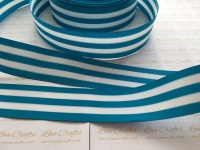 "1.5"" Turquoise & White Stripe Double Sided Grosgrain Ribbon"