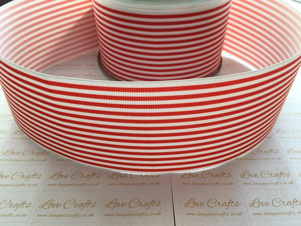 Poppy Red Pinstripe Grosgrain Ribbon