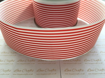 Poppy Red Pinstripe Grosgrain Ribbon