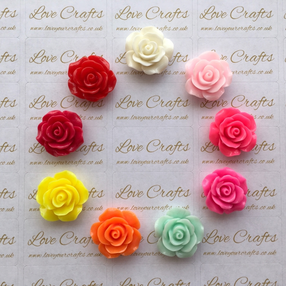 Rose Flower Flatback Resin