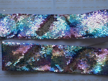 "3"" Pastel Rainbow to Silver Sequin Change Ribbon"