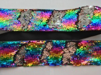 "3"" Rainbow to Silver Sequin Change Ribbon"
