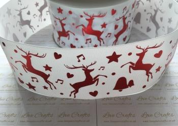 """3"""" Laser Reindeers on White Grosgrain Ribbon"""