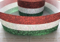 "3"" Red/White/Green Glitter Effect Grosgrain Ribbon"