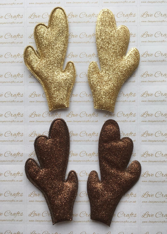 Pair of Padded Glitter Reindeer Antlers