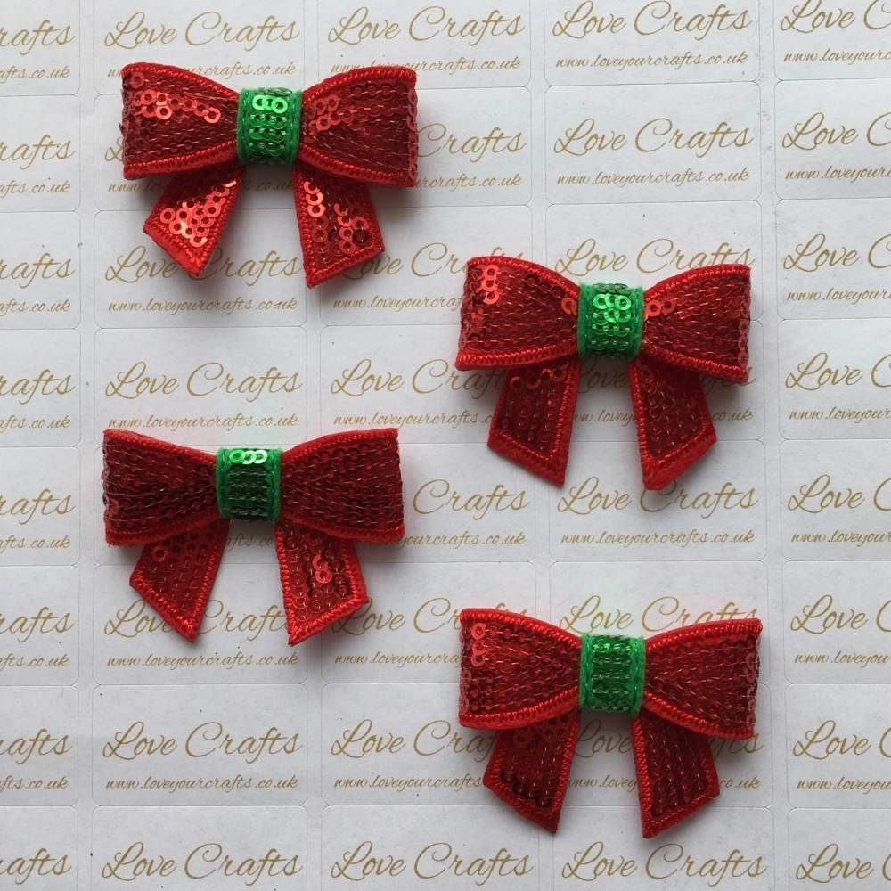 Red & Green Sequin Bow