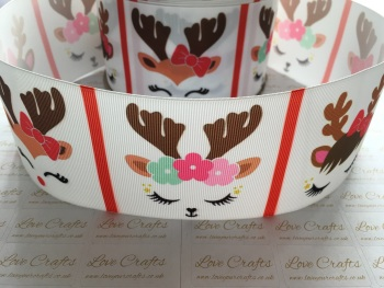 Sleepy Reindeer Grosgrain Ribbon