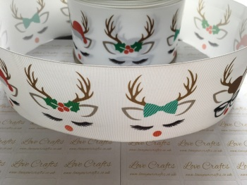 Sleepy Rudolph Grosgrain Ribbon