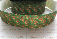 "1.5"" Reindeer Faces on Green Grosgrain Ribbon"
