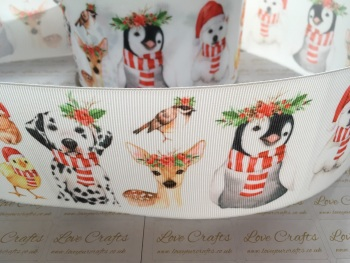Festive Animals Grosgrain Ribbon