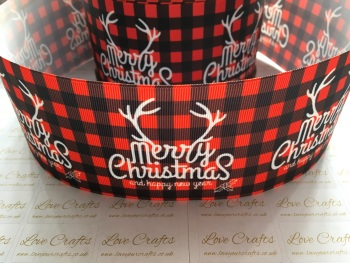 Merry Christmas Red Check Grosgrain Ribbon