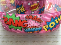 Pink Comic Book Grosgrain Ribbon