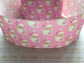 Pink Santa Grosgrain Ribbon