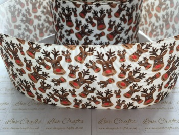 Reindeer Faces Grosgrain Ribbon