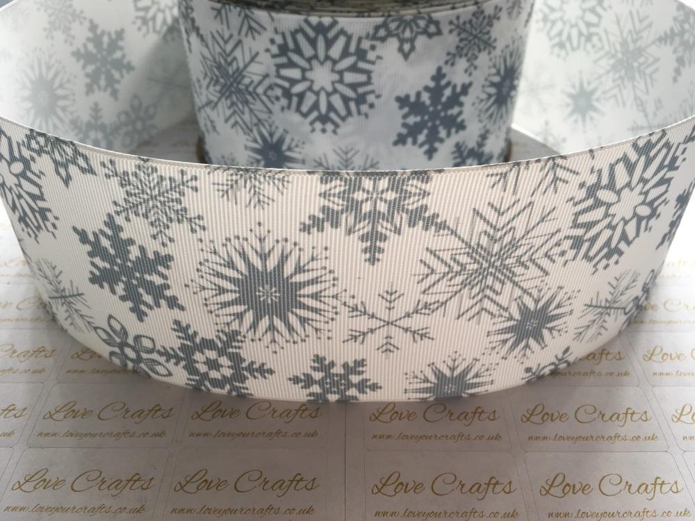 Silver Snowflakes Grosgrain Ribbon