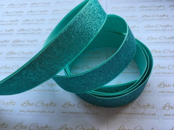 "7/8"" - 22mm - Aqua Glitter Grosgrain Ribbon"