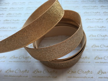 "7/8"" - 22mm - Gold Glitter Grosgrain Ribbon"