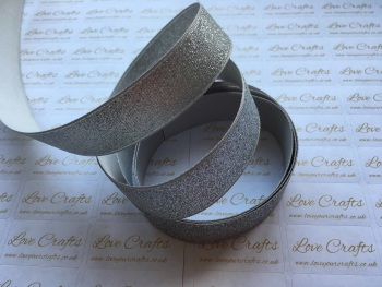 "7/8"" - 22mm - Silver Glitter Grosgrain Ribbon"